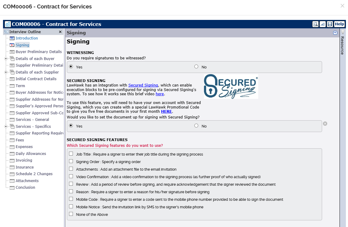 Secured Signing Integration